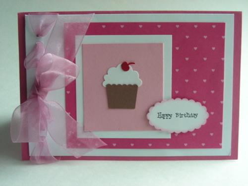 Fluffy Bow and Cupcake Birthday Card – Cupcake Birthday Cards